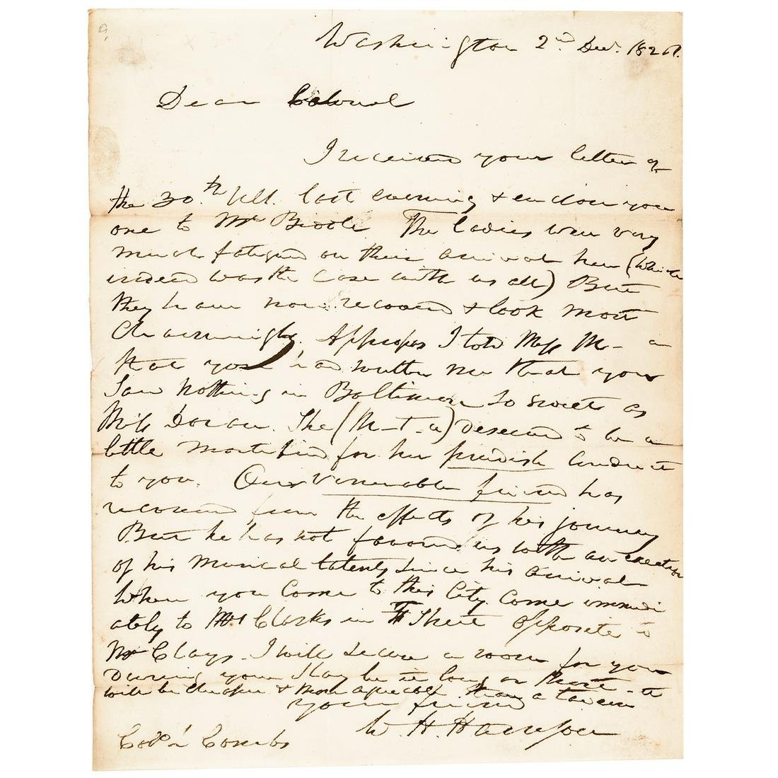 1826 WILLIAM HENRY HARRISON Autograph Letter Signed