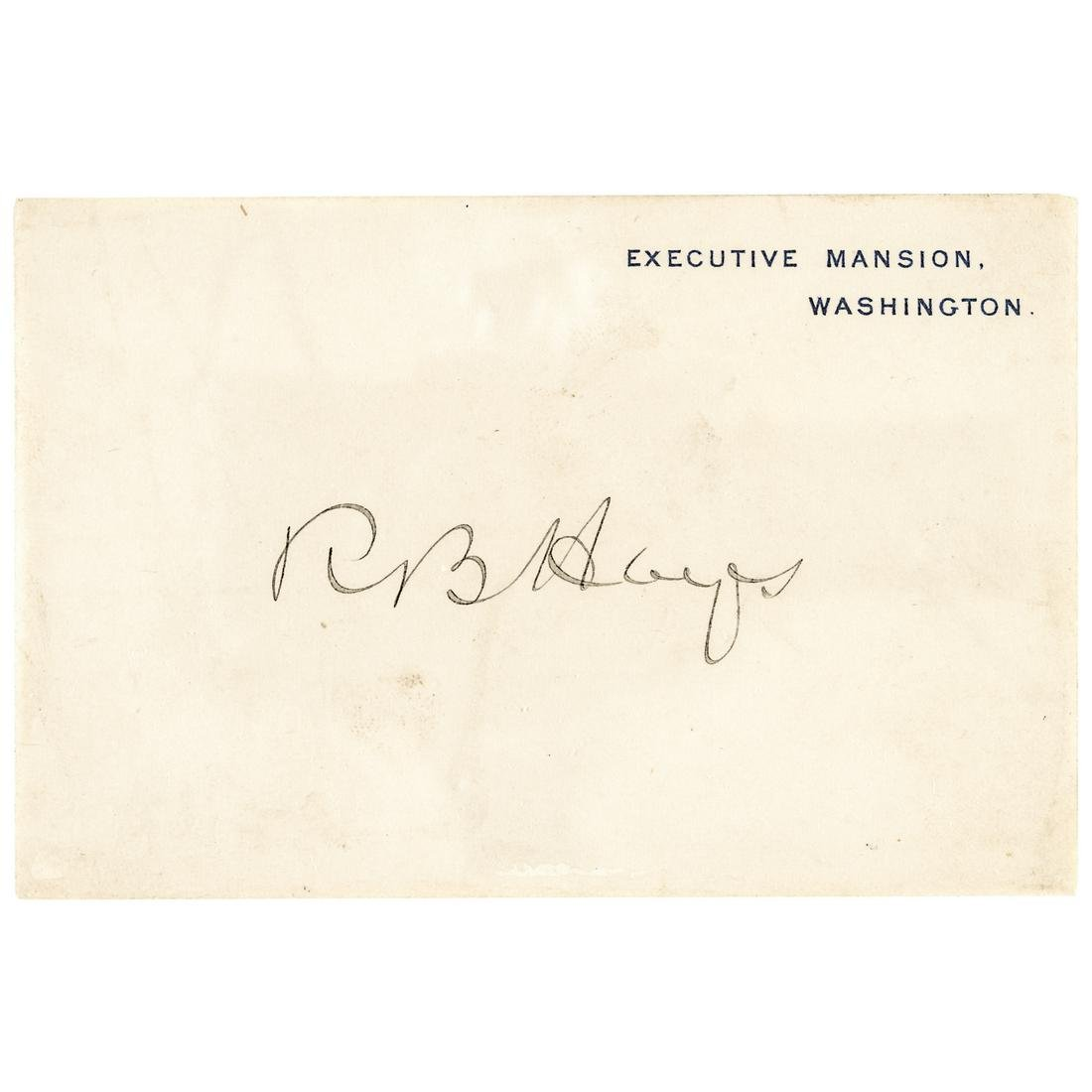 Executive Mansion Card Signed President RB Hayes