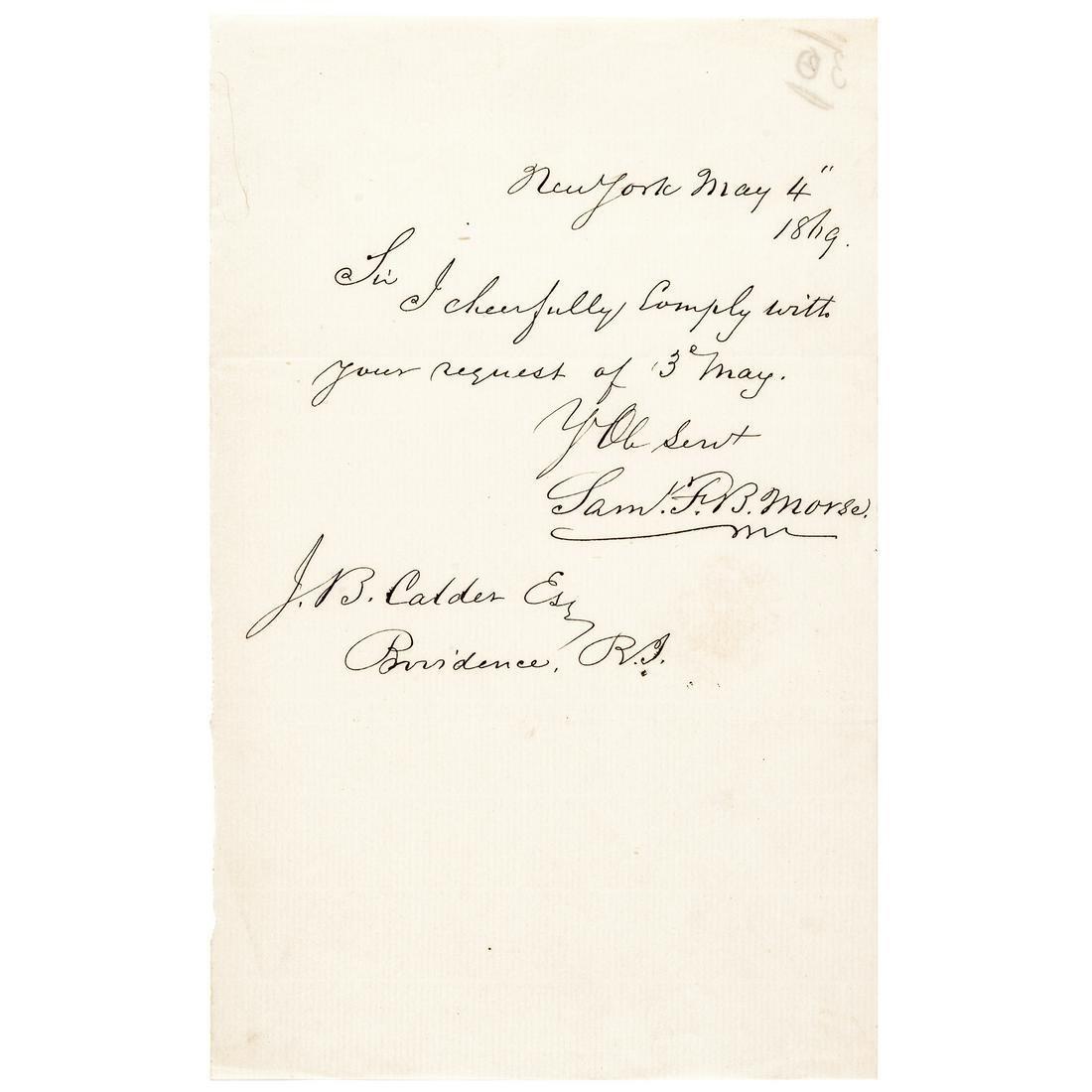 SAMUEL F. B. MORSE 1869 Autograph Letter Signed