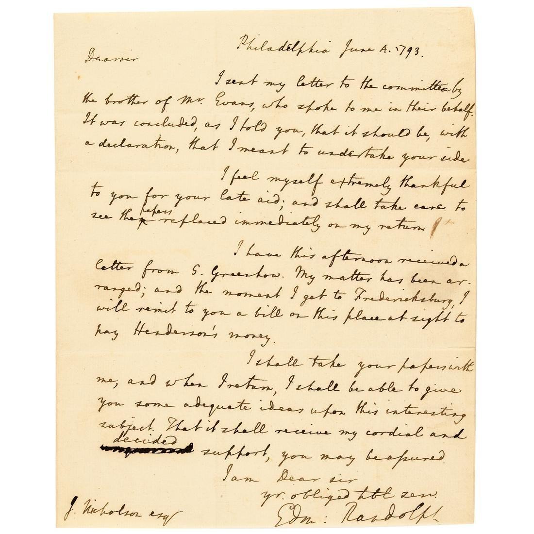 1793 EDMUND J. RANDOLPH Autograph Letter Signed
