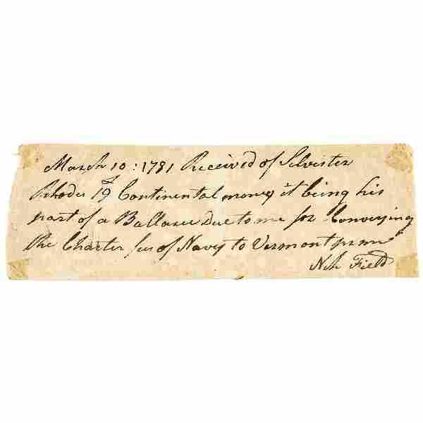 Rare 1781 VERMONT Revolutionary War Naval Payment
