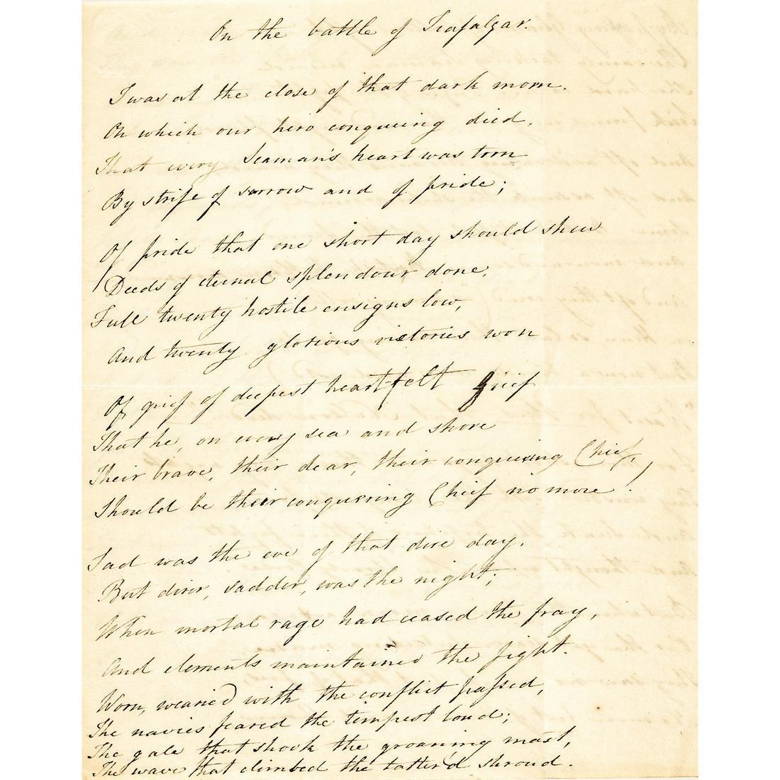 c. 1805 Lord Horatio Nelson Death/Memorial Poem
