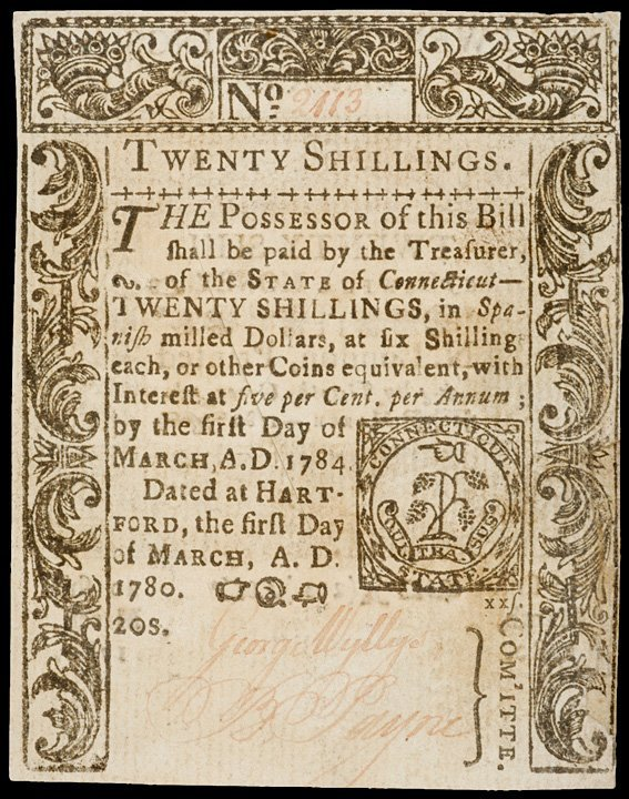 2016: Colonial Currency, CT, March 1, 1780, 20s