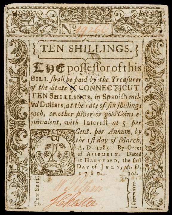 2017: Colonial Currency, CT, July 1, 1780, 10s