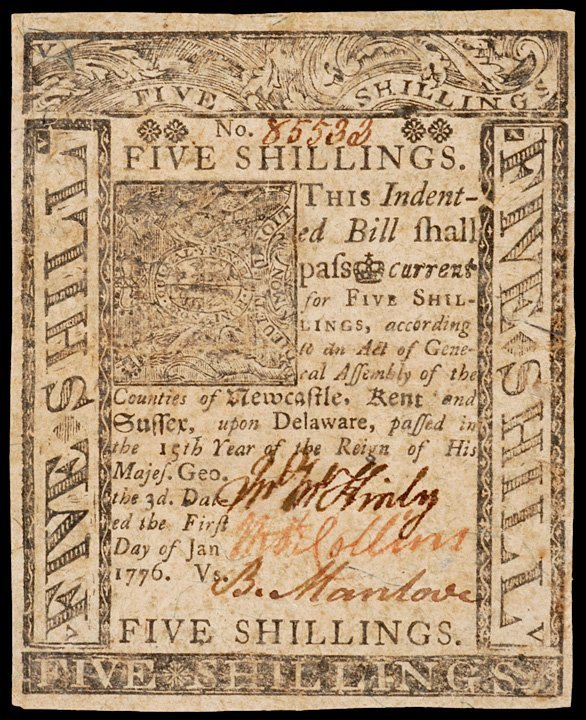 2018: Colonial Currency, DE, January 1, 1776, 5s