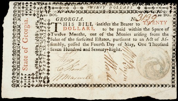 2020: Colonial Currency, GA, May 4, 1778, $20