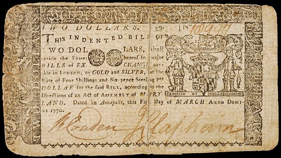 2021: Colonial Currency, MD, March 1, 1770, $2