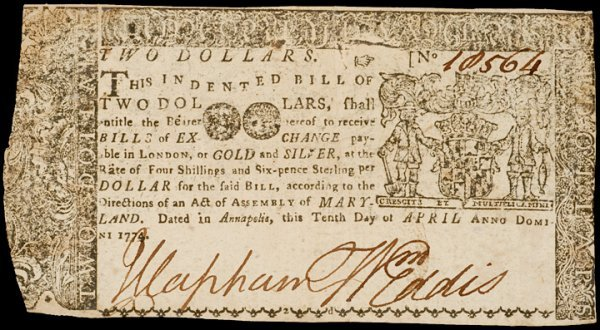 2022: Colonial Currency, MD, April 10, 1774, $2