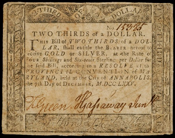 2023: Colonial Currency, MD, December 7, 1775, $2/3