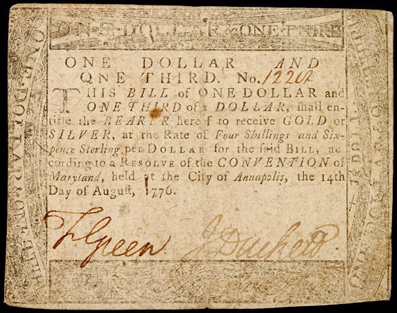 2024: Colonial Currency, MD, August 14, 1776, $1 1/3