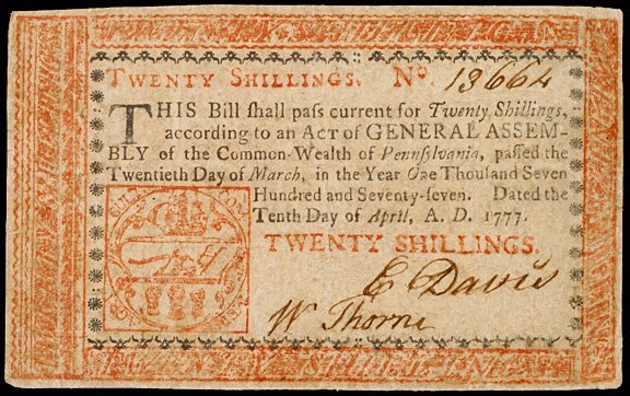 2040: Colonial Currency, PA, April 10, 1777, 20s