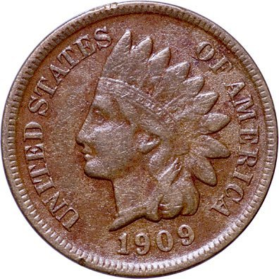 2118: Key Date 1909-S Indian Head Cent Very Fine-35