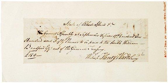 3011: WILLIAM BRADFORD, 1778 Signed Document