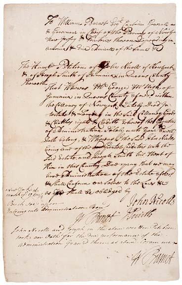 3013: WILLIAM BURNET, Twice Signed Document - 1723