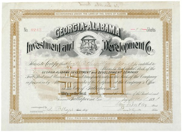 3014: BENJAMIN F. BUTLER 1891 Signed Stock Certificate