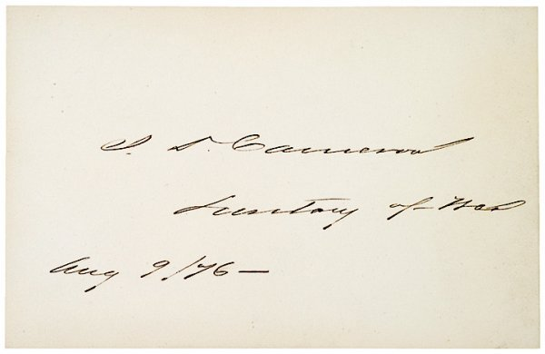 3017: JAMES D. CAMERON, 1876, Card Signed