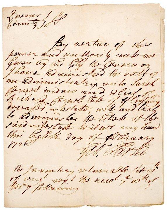 3021: GEORGE CLARKE, Signed Document 1726