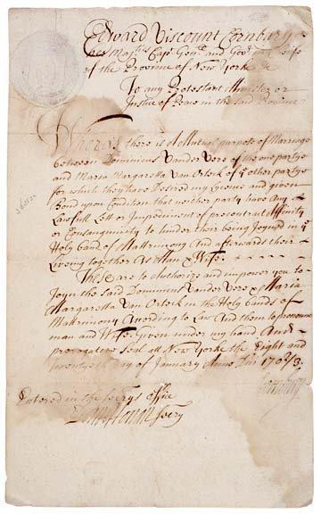 3024: VISCOUNT CORNBURY Signed, 1703 Marriage License