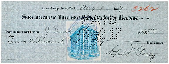 3039: J. PAUL GETTY Signed Check 1917