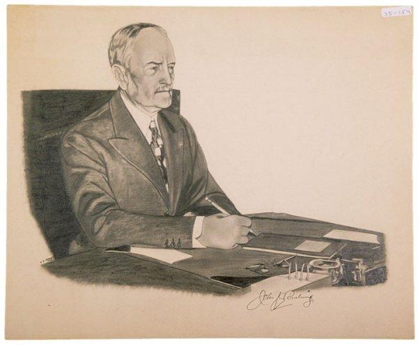 3050: JOHN J. PERSHING, Signed Charcoal Portrait