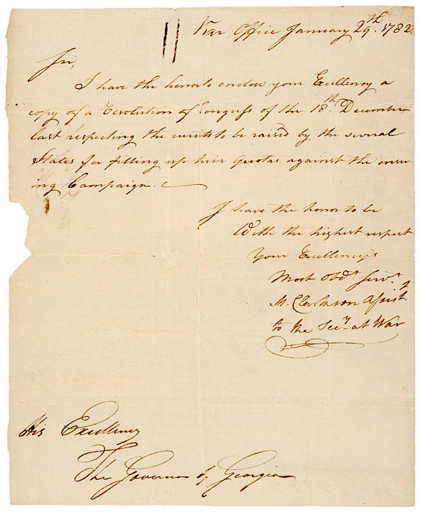 14: MATTHEW CLARKSON Signed Revolutionary War Letter
