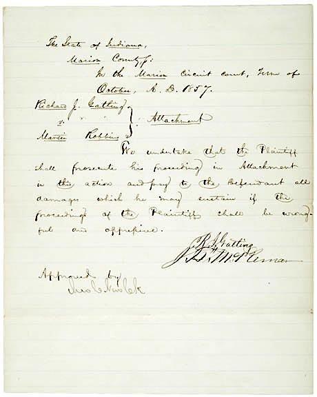 4001: RICHARD J. GATLING Signed Document 1857