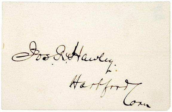 4002: General JOSEPH HAWLEY, Signature on Card