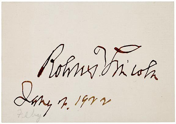 4004: ROBERT T. LINCOLN Clipped Signature Card, 1922