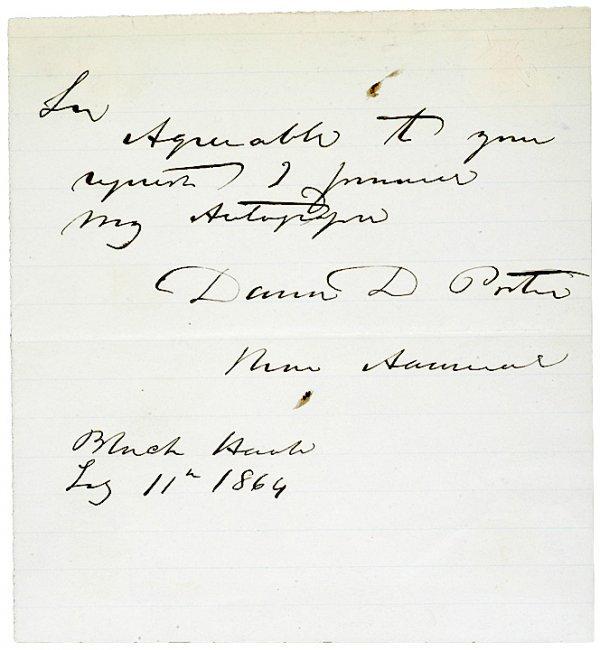 4006: DAVID D. PORTER, 1864 Autograph Note Signed