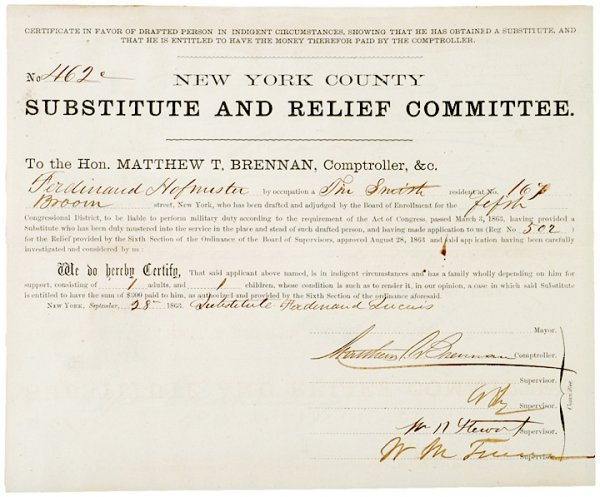 4011: 1863, New York Substitute From for $300