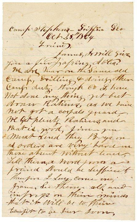 4013: Letter: 1864, Civil War, Confederate: Georgia
