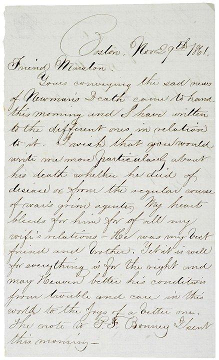 4015: 1861 Letter: Captain Marston re Soldiers Death