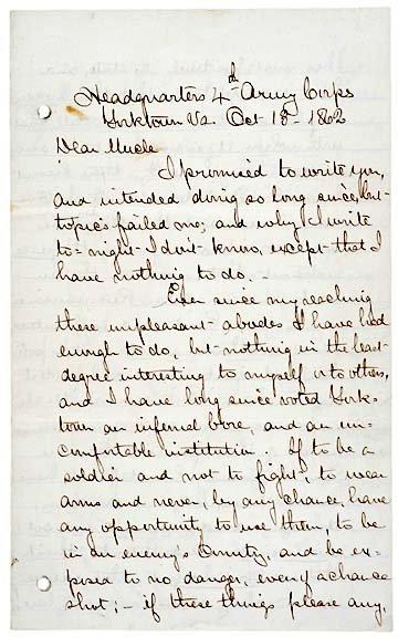 4019: Civil War 1862 Union Naval Letter-Gen. Keyes