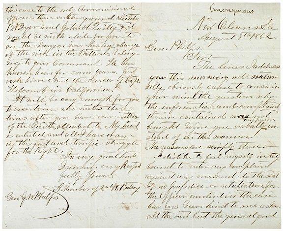 4021: Union Civil War Letter Cites Drunken Officer