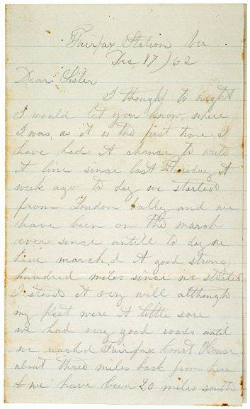 4022: 1862, Union Soldiers Letter + Envelope