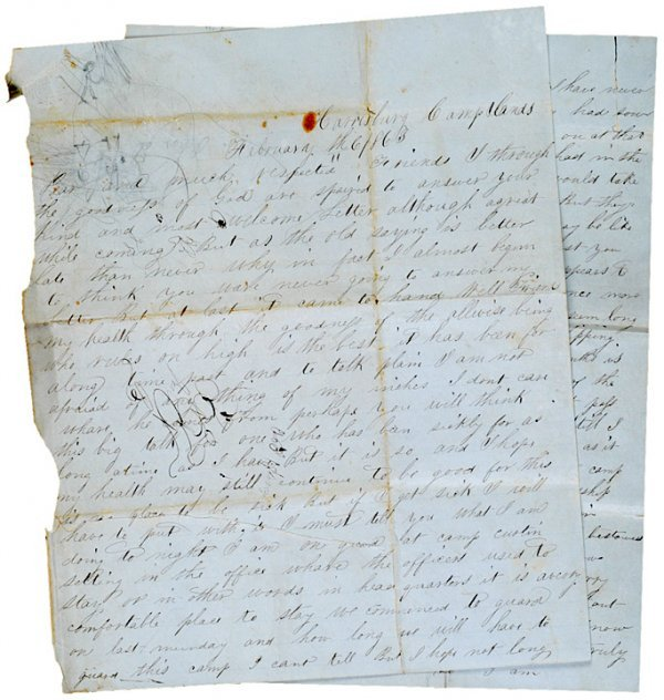 4023: 1863,  Union Soldier Autograph Letter Camp Curtin