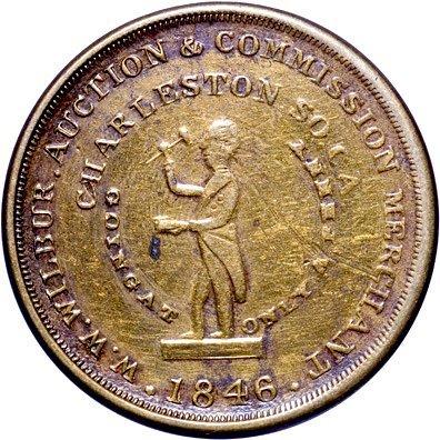 4119: Charleston, SC Slave Auctioneer Token-W.W. Wilbur