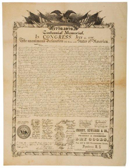 5002: c. 1876, Broadside: Declaration of Independence