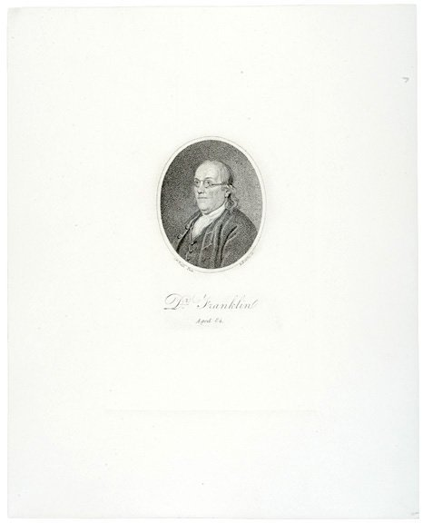5004: Uncolored Print of Benjamin Franklin at Age 84