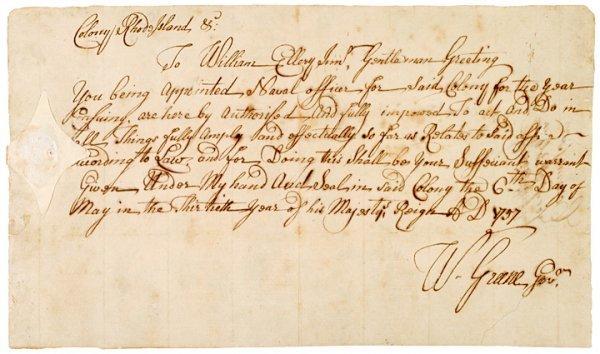 5006: Colonial Rhode Island Naval Document 1757