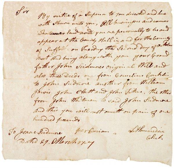 5007: EZRA L HOMMEDIEU,1757, Manuscript Document Signed