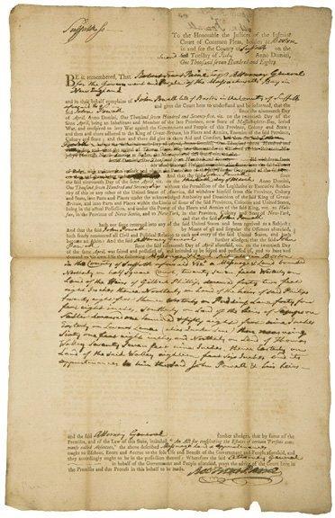 5009: ROBERT TREAT PAINE Signed Document