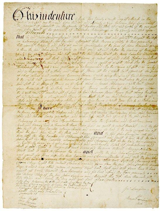 5011: 1779 Revolutionary War Era NY Land Indenture