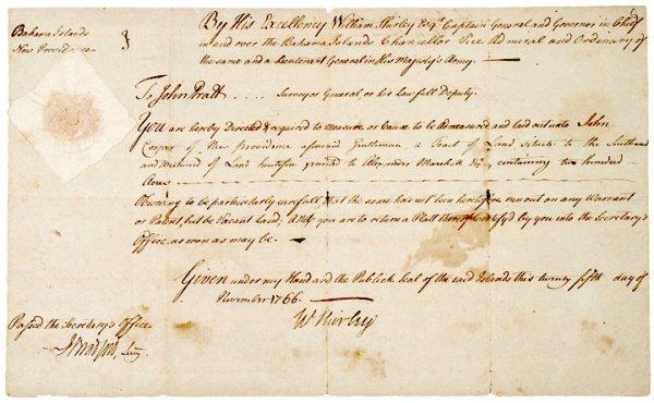 5013: Governor WILLIAM SHIRLEY, 1766 Signed Document