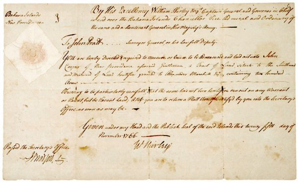 5013: Governor WILLIAM SHIRLEY, 1766 Signed Document