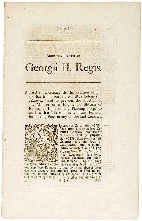 5022: 1750 British ACT Regarding Restriction of Trade