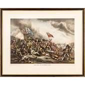 c. 1880 Battle of Bunker Hill, Color Lithograph