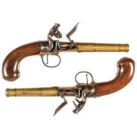 c1750 Silver Mounted Queen Anne Flintlock Pistols