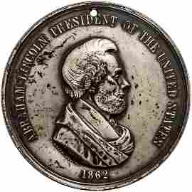 1862 Abraham Lincoln Indian Peace Medal, Silvered
