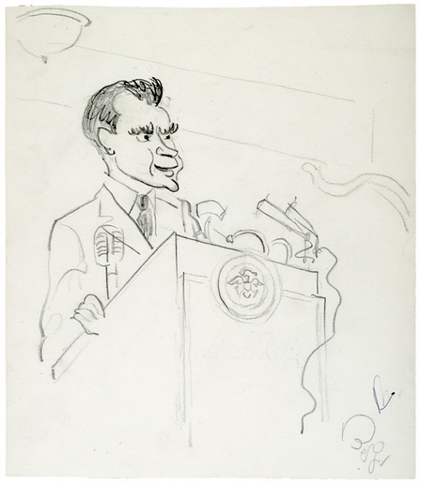 3002: OSCAR BERGER Signed Sketch of RICHARD NIXON